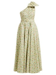 Alessandra Rich Belted Pineapple Print Cotton Blend Gown Green Multi