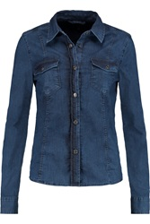 7 For All Mankind Slim Paneled Stretch Denim Shirt Blue