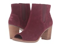 Toms Majorca Peep Toe Bootie Oxblood Suede Perforated Women's Toe Open Shoes Pink