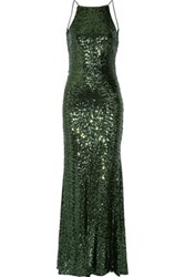 Badgley Mischka Draped Sequined Tulle Gown Emerald
