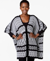 Ny Collection Oversize Geo Print Poncho Cardigan Black White