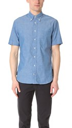 Gitman Brothers Vintage Short Sleeve Iridescent Chambray Shirt Blue