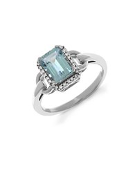 Lord And Taylor 14Kt. White Gold Diamond Aqua Ring Aqua Silver