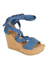 Kenneth Cole Reaction Solerise Lace Up Wedge Sandals Blue