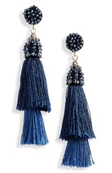 Stella Ruby And Layered Tassel Drop Earrings Gold Blue
