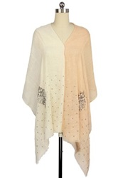 Saachi Peach Beaded Motif Linen Wrap Orange