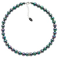 Finesse Faux Pearl Glass Crystal Necklace Purple Multi Silver