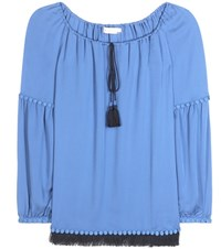 Tory Burch Sylvie Silk Tunic Top Blue