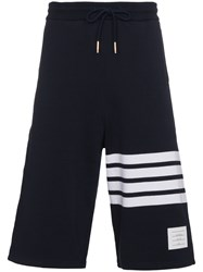 Thom Browne Sweatshorts With Engineered 4 Bar Stripe Cotton Blue