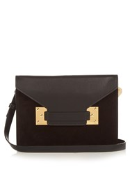 Sophie Hulme Double Milner Suede And Leather Clutch Black