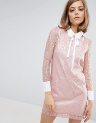 Sister Jane Lace Dress With Embellished Collar Pink