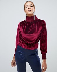 Boohoo Velvet High Neck Top In Red Red