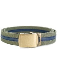 Ermanno Scervino Casual Striped Belt Cotton Leather Green