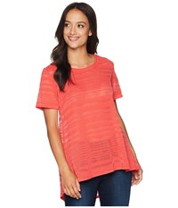 Nally And Millie Short Sleeve Sheer Stripe Tunic With Back Pleat Coral Blouse