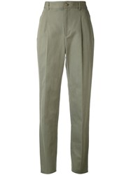 A.P.C. Pleated Trousers Women Cotton Linen Flax 36 Green