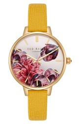 Ted Baker London Kate Leather Strap Watch 36Mm Yellow Printed Gold