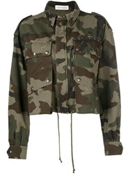 Faith Connexion Camouflage Cropped Jacket Green