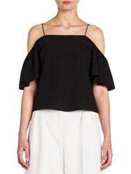 Fendi Off The Shoulder Silk Crepe De Chine Blouse Black