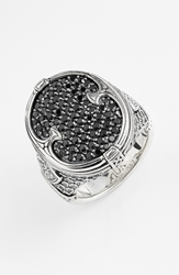 Konstantino 'Plato' Pave Etched Ring Silver