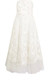 Marchesa Notte Strapless Sequin Embellished Embroidered Tulle Gown Ivory