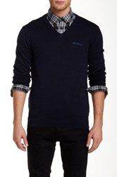 Ben Sherman V Neck Knit Pullover Blue