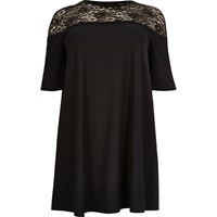 River Island Womens Plus Black Lace Panel Swing Dress