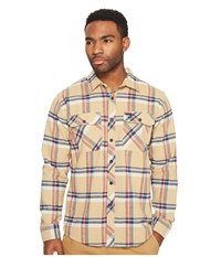 Brixton Bowery Long Sleeve Flannel Tan Plaid Men's Long Sleeve Button Up Multi