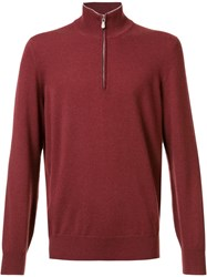 Brunello Cucinelli Zipped Neck Jumper Red