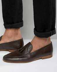 River Island Leather Loafers With Tassels In Brown Brown