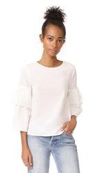 Madewell White Poplin Tiered Sleeve Top Bright Ivory