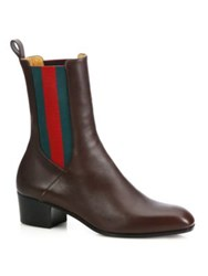 Gucci Karen Stripe Leather Booties Brown