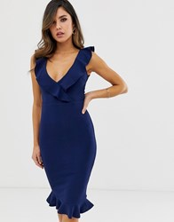 Ax Paris V Neck Frill Hem Midi Dress Blue