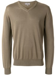 Canali V Neck Sweater Brown