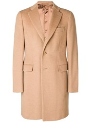Caruso Single Breasted Coat Nude And Neutrals