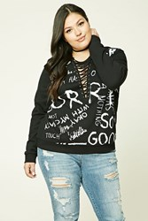 Forever 21 Plus Size Sorry Graphic Sweater Black White