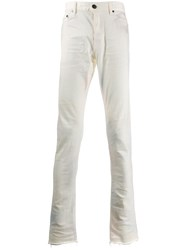 John Elliott Frayed Hem Slim Fit Trousers Neutrals