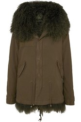 Mr And Mrs Italy Hooded Shearling Lined Cotton Canvas Parka Dark Green