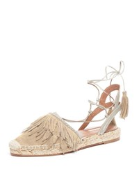 Aquazzura Fringed Suede Ankle Wrap Espadrille Flat Neutral