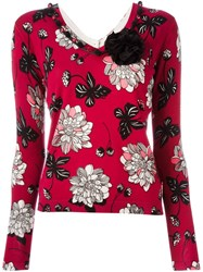 Twin Set V Neck Floral Sweater Pink And Purple