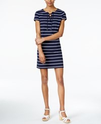 Maison Jules Lace Up T Shirt Dress Only At Macy's Blu Notte Combo