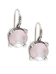 Stephen Dweck Round Faceted Rose Quartz Earrings Silver