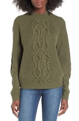 Leith Women's Cable Knit Sweater Olive Sarma