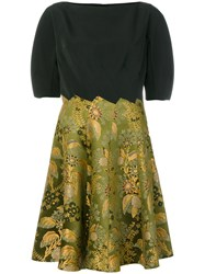Etro Floral Print Panel Flared Dress Silk Cotton Polyester Acetate Green