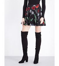 Alice Olivia And Blaize Floral Print Silk Skirt Painted Tulip