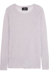 Line Ingrid Open Knit Paneled Cashmere Sweater Light Gray