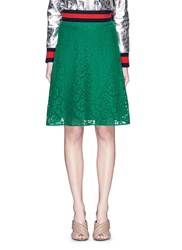 Gucci Cluny Lace Midi Skirt Green