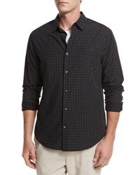 Vince Dot Print Woven Oxford Shirt Black
