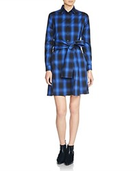 Maje Ruly Checkered Shirt Dress Electric Blue