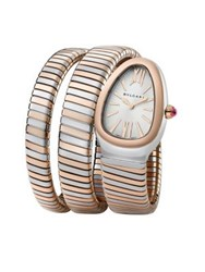Bulgari Serpenti 18K Rose Gold And Stainless Steel Wraparound Tubogas Bracelet Watch
