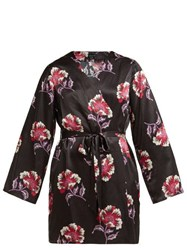 Morgan Lane Langley Floral Print Short Silk Robe Black Print